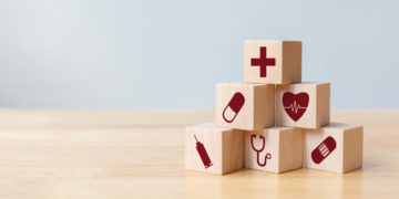 Wood,Block,Stacking,With,Icon,Healthcare,Medical,,Insurance,For,Your